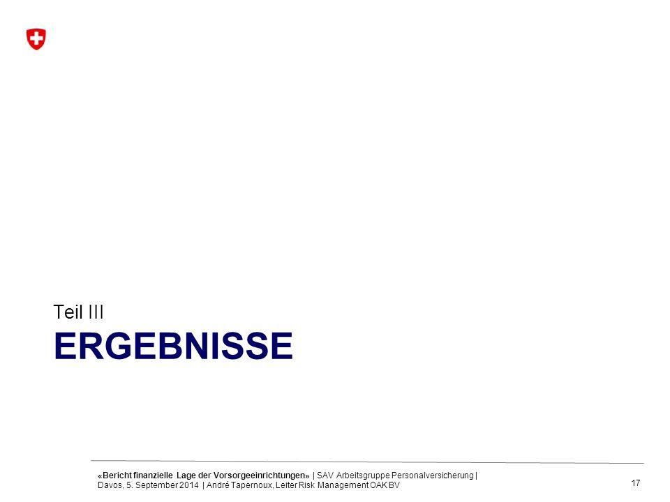17 ERGEBNISSE Teil III «Bericht finanzielle Lage der Vorsorgeeinrichtungen» | SAV Arbeitsgruppe Personalversicherung | Davos, 5. September 2014 | Andr