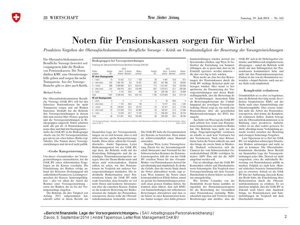 2 «Bericht finanzielle Lage der Vorsorgeeinrichtungen» | SAV Arbeitsgruppe Personalversicherung | Davos, 5. September 2014 | André Tapernoux, Leiter R