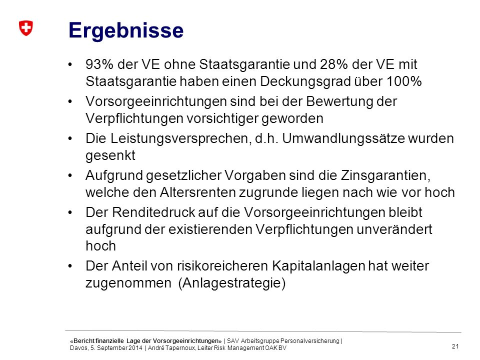 21 Ergebnisse 93% der VE ohne Staatsgarantie und 28% der VE mit Staatsgarantie haben einen Deckungsgrad über 100% Vorsorgeeinrichtungen sind bei der Bewertung der Verpflichtungen vorsichtiger geworden Die Leistungsversprechen, d.h.