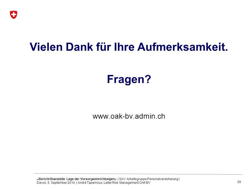 29 Vielen Dank für Ihre Aufmerksamkeit. Fragen? www.oak-bv.admin.ch «Bericht finanzielle Lage der Vorsorgeeinrichtungen» | SAV Arbeitsgruppe Personalv