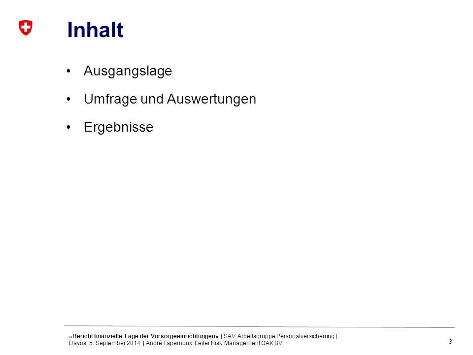 3 Inhalt Ausgangslage Umfrage und Auswertungen Ergebnisse «Bericht finanzielle Lage der Vorsorgeeinrichtungen» | SAV Arbeitsgruppe Personalversicherung | Davos, 5.