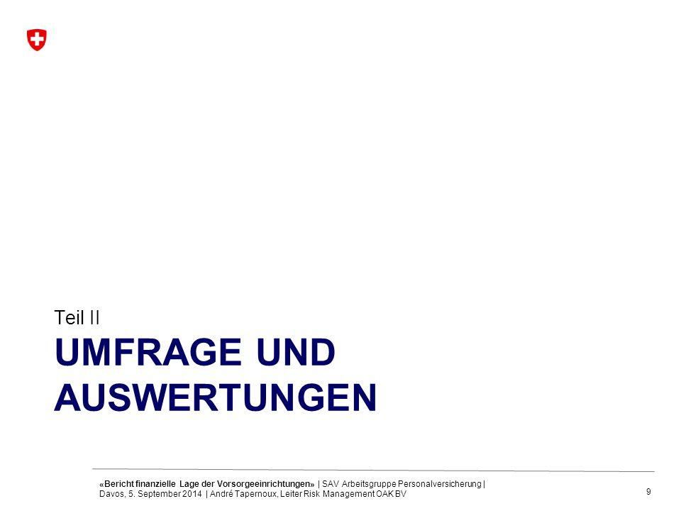 9 UMFRAGE UND AUSWERTUNGEN Teil II «Bericht finanzielle Lage der Vorsorgeeinrichtungen» | SAV Arbeitsgruppe Personalversicherung | Davos, 5. September