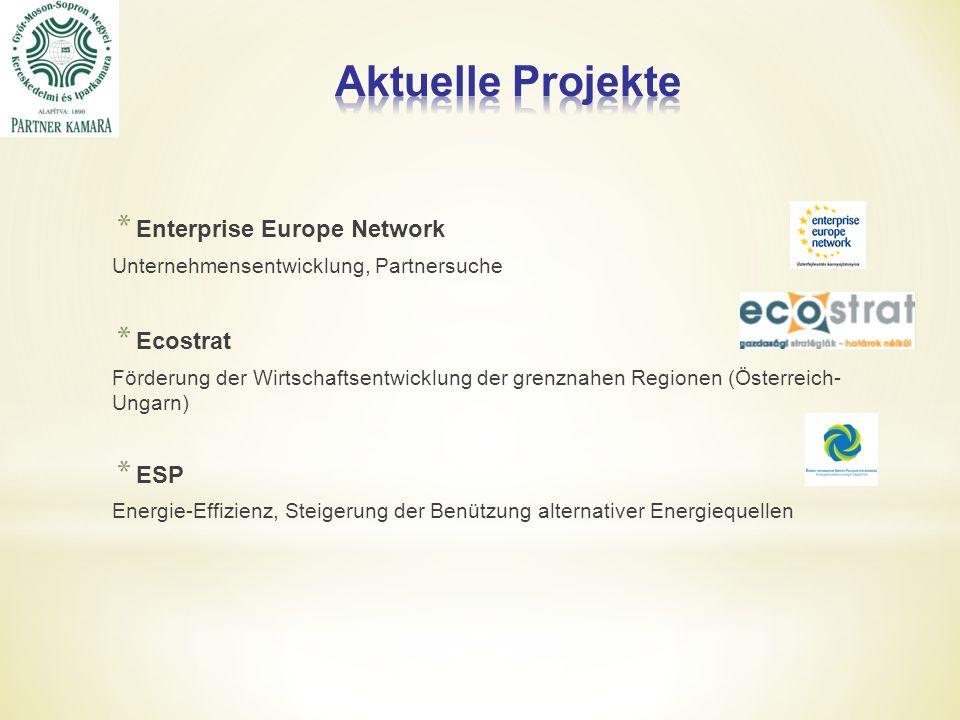 * Enterprise Europe Network Unternehmensentwicklung, Partnersuche * Ecostrat Förderung der Wirtschaftsentwicklung der grenznahen Regionen (Österreich- Ungarn) * ESP Energie-Effizienz, Steigerung der Benützung alternativer Energiequellen