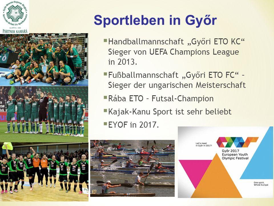 """Sportleben in Győr  Handballmannschaft """"Győri ETO KC Sieger von UEFA Champions League in 2013."""