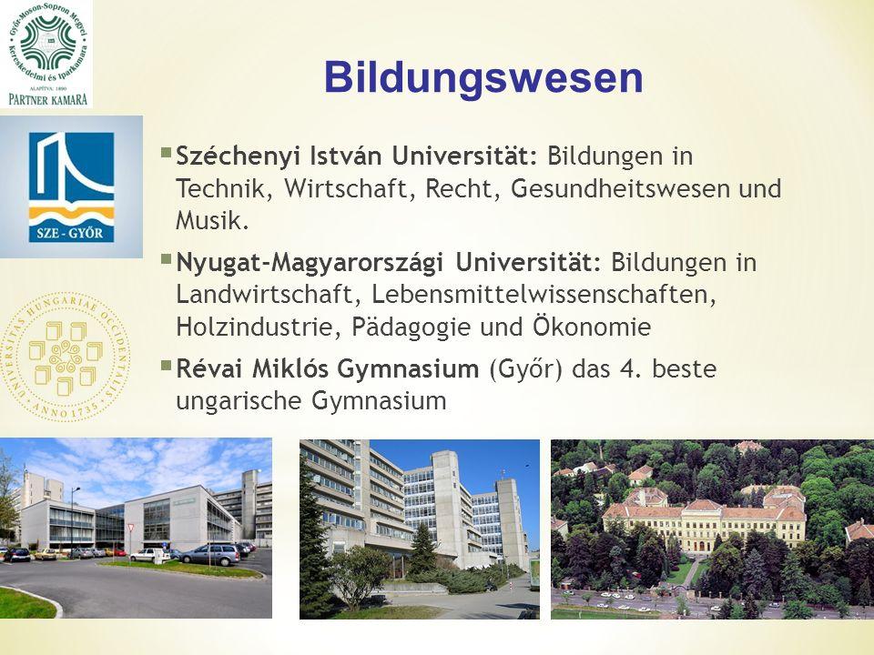 Bildungswesen  Széchenyi István Universität: Bildungen in Technik, Wirtschaft, Recht, Gesundheitswesen und Musik.