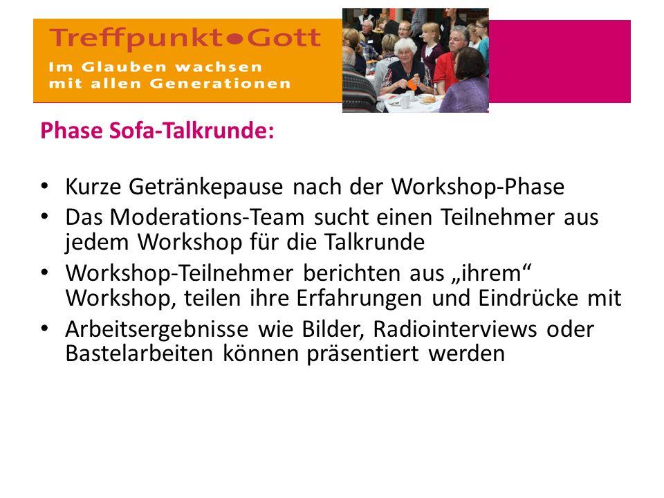 Phase Sofa-Talkrunde: Kurze Getränkepause nach der Workshop-Phase Das Moderations-Team sucht einen Teilnehmer aus jedem Workshop für die Talkrunde Wor