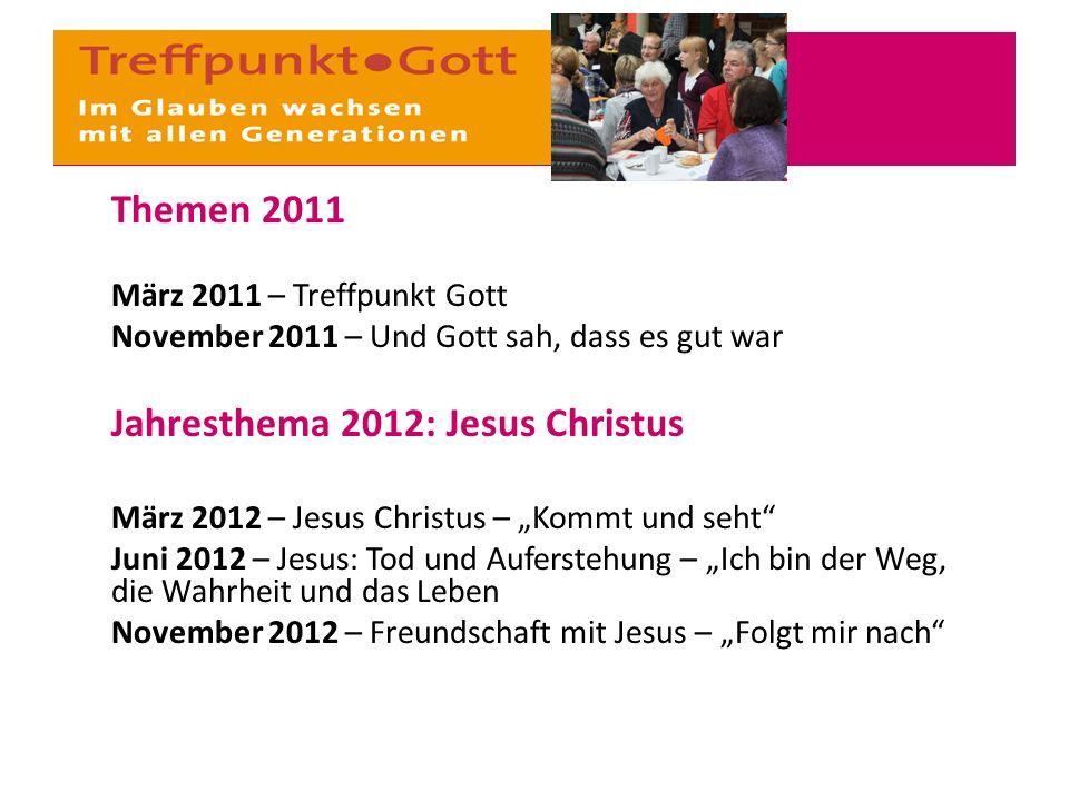 """Themen 2011 März 2011 – Treffpunkt Gott November 2011 – Und Gott sah, dass es gut war Jahresthema 2012: Jesus Christus März 2012 – Jesus Christus – """"K"""