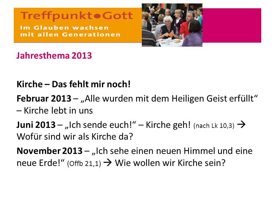 """Jahresthema 2013 Kirche – Das fehlt mir noch! Februar 2013 – """"Alle wurden mit dem Heiligen Geist erfüllt"""" – Kirche lebt in uns Juni 2013 – """"Ich sende"""