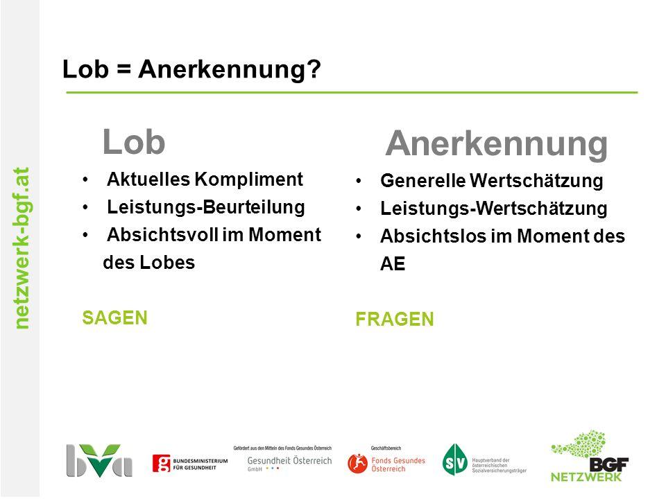 netzwerk-bgf.at Lob = Anerkennung.