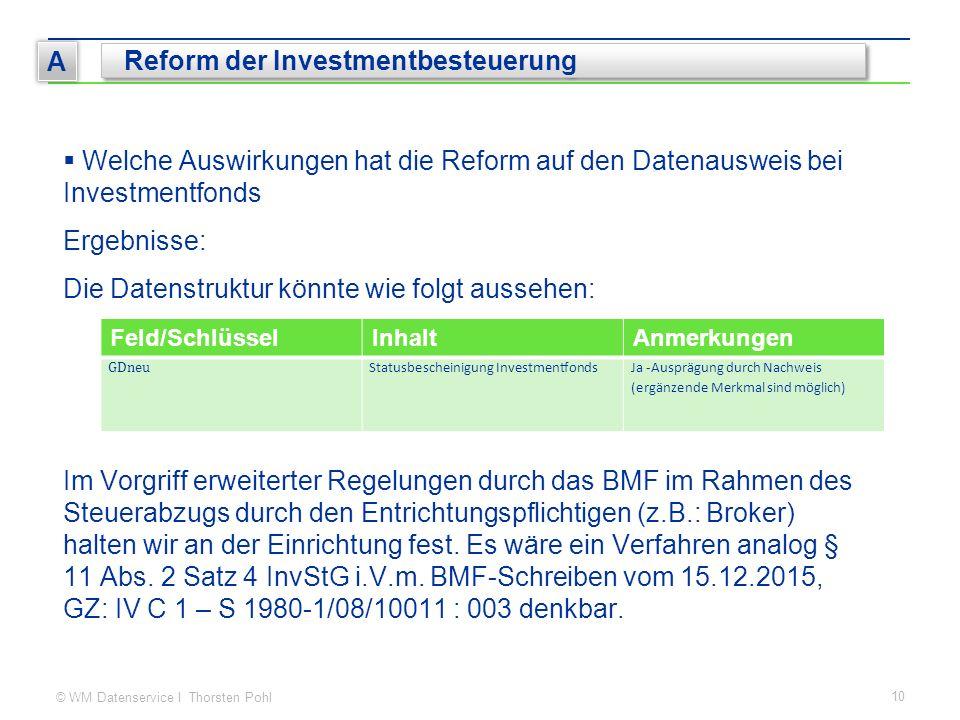© WM Datenservice I Thorsten Pohl 10 A Reform der Investmentbesteuerung  Welche Auswirkungen hat die Reform auf den Datenausweis bei Investmentfonds
