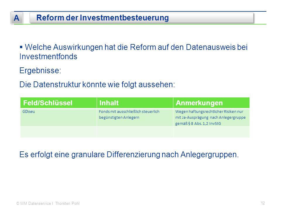 © WM Datenservice I Thorsten Pohl 12 A Reform der Investmentbesteuerung  Welche Auswirkungen hat die Reform auf den Datenausweis bei Investmentfonds Ergebnisse: Die Datenstruktur könnte wie folgt aussehen: Es erfolgt eine granulare Differenzierung nach Anlegergruppen.