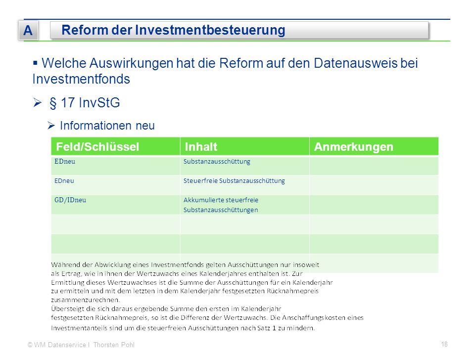 © WM Datenservice I Thorsten Pohl 18 A Reform der Investmentbesteuerung  Welche Auswirkungen hat die Reform auf den Datenausweis bei Investmentfonds