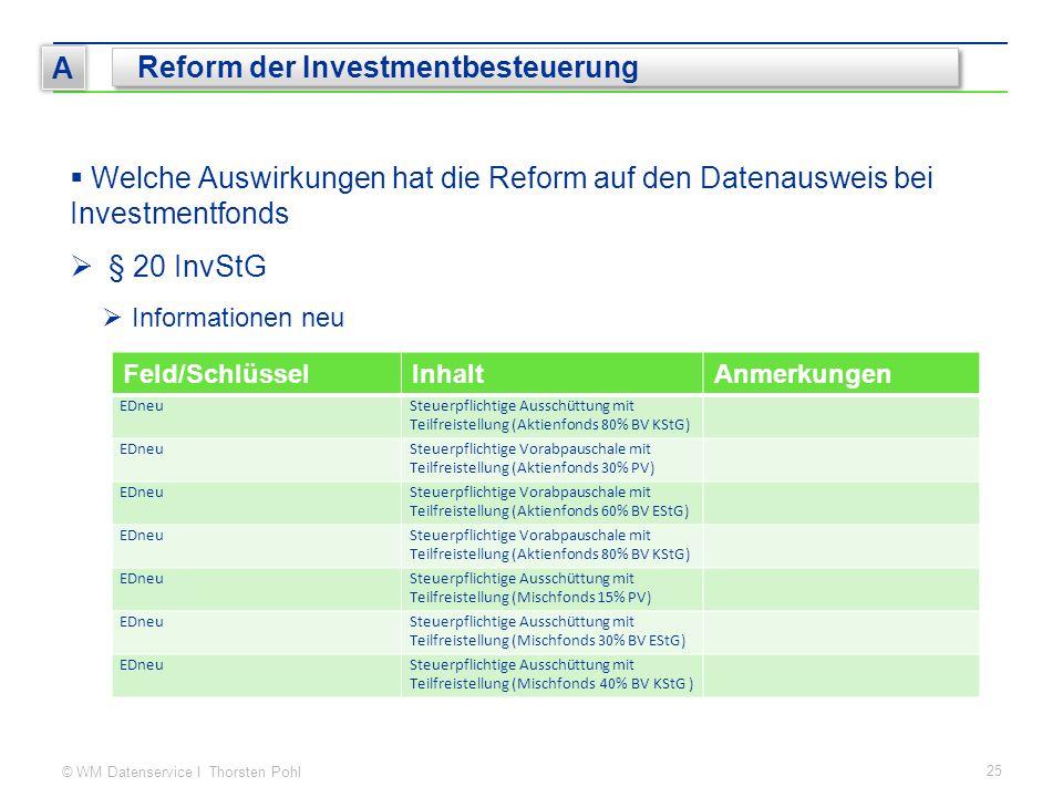 © WM Datenservice I Thorsten Pohl 25 A Reform der Investmentbesteuerung  Welche Auswirkungen hat die Reform auf den Datenausweis bei Investmentfonds  § 20 InvStG  Informationen neu Feld/SchlüsselInhaltAnmerkungen EDneuSteuerpflichtige Ausschüttung mit Teilfreistellung (Aktienfonds 80% BV KStG) EDneuSteuerpflichtige Vorabpauschale mit Teilfreistellung (Aktienfonds 30% PV) EDneuSteuerpflichtige Vorabpauschale mit Teilfreistellung (Aktienfonds 60% BV EStG) EDneuSteuerpflichtige Vorabpauschale mit Teilfreistellung (Aktienfonds 80% BV KStG) EDneuSteuerpflichtige Ausschüttung mit Teilfreistellung (Mischfonds 15% PV) EDneuSteuerpflichtige Ausschüttung mit Teilfreistellung (Mischfonds 30% BV EStG) EDneuSteuerpflichtige Ausschüttung mit Teilfreistellung (Mischfonds 40% BV KStG )
