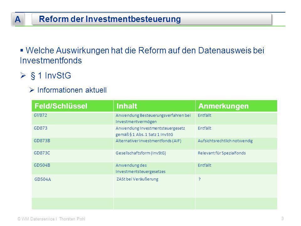 © WM Datenservice I Thorsten Pohl 3 A Reform der Investmentbesteuerung  Welche Auswirkungen hat die Reform auf den Datenausweis bei Investmentfonds 