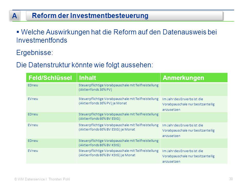 © WM Datenservice I Thorsten Pohl 30 A Reform der Investmentbesteuerung  Welche Auswirkungen hat die Reform auf den Datenausweis bei Investmentfonds Ergebnisse: Die Datenstruktur könnte wie folgt aussehen: Feld/SchlüsselInhaltAnmerkungen EDneuSteuerpflichtige Vorabpauschale mit Teilfreistellung (Aktienfonds 30% PV) EVneuSteuerpflichtige Vorabpauschale mit Teilfreistellung (Aktienfonds 30% PV) je Monat Im Jahr des Erwerbs ist die Vorabpauschale nur besitzanteilig anzusetzen EDneuSteuerpflichtige Vorabpauschale mit Teilfreistellung (Aktienfonds 60% BV EStG) EVneuSteuerpflichtige Vorabpauschale mit Teilfreistellung (Aktienfonds 60% BV EStG) je Monat Im Jahr des Erwerbs ist die Vorabpauschale nur besitzanteilig anzusetzen EDneuSteuerpflichtige Vorabpauschale mit Teilfreistellung (Aktienfonds 80% BV KStG) EVneuSteuerpflichtige Vorabpauschale mit Teilfreistellung (Aktienfonds 80% BV KStG) je Monat Im Jahr des Erwerbs ist die Vorabpauschale nur besitzanteilig anzusetzen