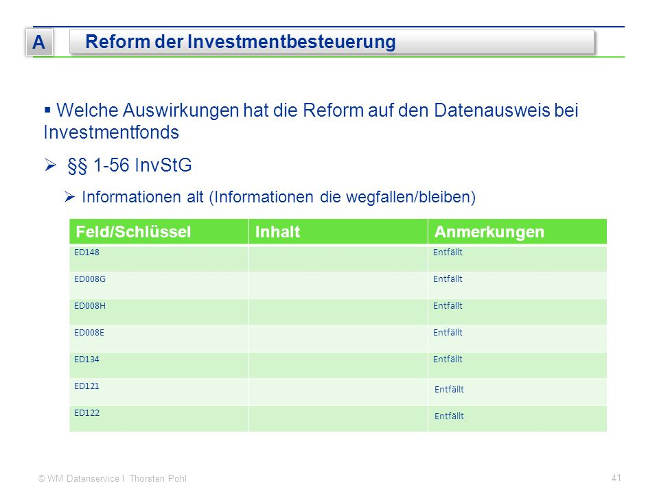 © WM Datenservice I Thorsten Pohl 41 A Reform der Investmentbesteuerung  Welche Auswirkungen hat die Reform auf den Datenausweis bei Investmentfonds  §§ 1-56 InvStG  Informationen alt (Informationen die wegfallen/bleiben) Feld/SchlüsselInhaltAnmerkungen ED148Entfällt ED008GEntfällt ED008HEntfällt ED008EEntfällt ED134Entfällt ED121 Entfällt ED122 Entfällt