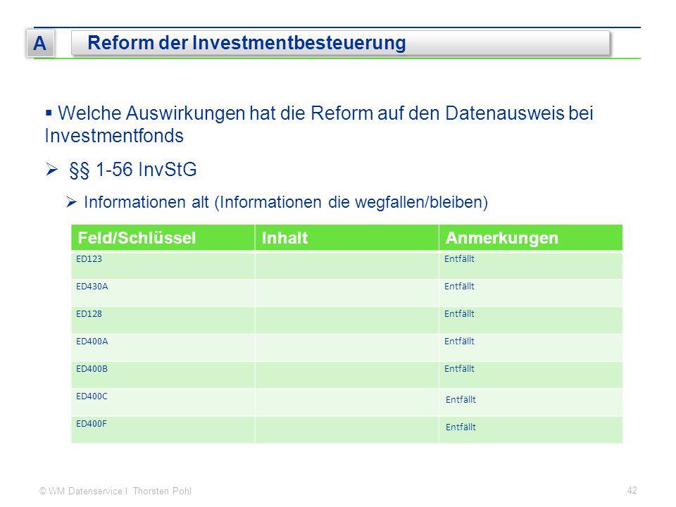 © WM Datenservice I Thorsten Pohl 42 A Reform der Investmentbesteuerung  Welche Auswirkungen hat die Reform auf den Datenausweis bei Investmentfonds  §§ 1-56 InvStG  Informationen alt (Informationen die wegfallen/bleiben) Feld/SchlüsselInhaltAnmerkungen ED123Entfällt ED430AEntfällt ED128Entfällt ED400AEntfällt ED400BEntfällt ED400C Entfällt ED400F Entfällt