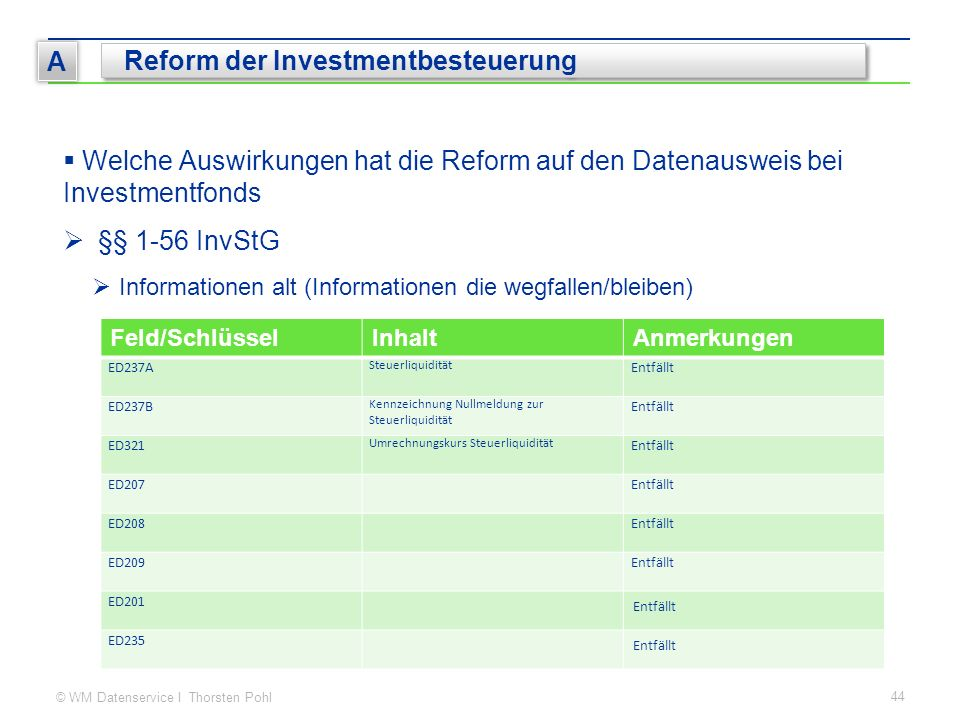 © WM Datenservice I Thorsten Pohl 44 A Reform der Investmentbesteuerung  Welche Auswirkungen hat die Reform auf den Datenausweis bei Investmentfonds  §§ 1-56 InvStG  Informationen alt (Informationen die wegfallen/bleiben) Feld/SchlüsselInhaltAnmerkungen ED237A Steuerliquidität Entfällt ED237B Kennzeichnung Nullmeldung zur Steuerliquidität Entfällt ED321 Umrechnungskurs Steuerliquidität Entfällt ED207Entfällt ED208Entfällt ED209Entfällt ED201 Entfällt ED235 Entfällt