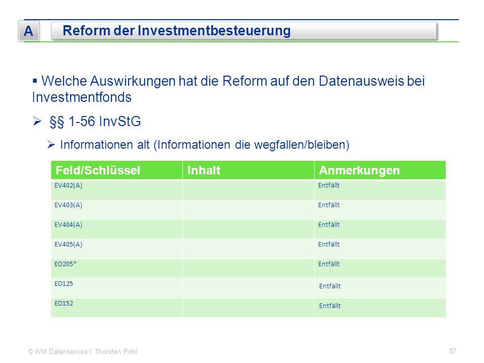 © WM Datenservice I Thorsten Pohl 57 A Reform der Investmentbesteuerung  Welche Auswirkungen hat die Reform auf den Datenausweis bei Investmentfonds  §§ 1-56 InvStG  Informationen alt (Informationen die wegfallen/bleiben) Feld/SchlüsselInhaltAnmerkungen EV402(A)Entfällt EV403(A)Entfällt EV404(A)Entfällt EV405(A)Entfällt ED205*Entfällt ED125 Entfällt ED152 Entfällt