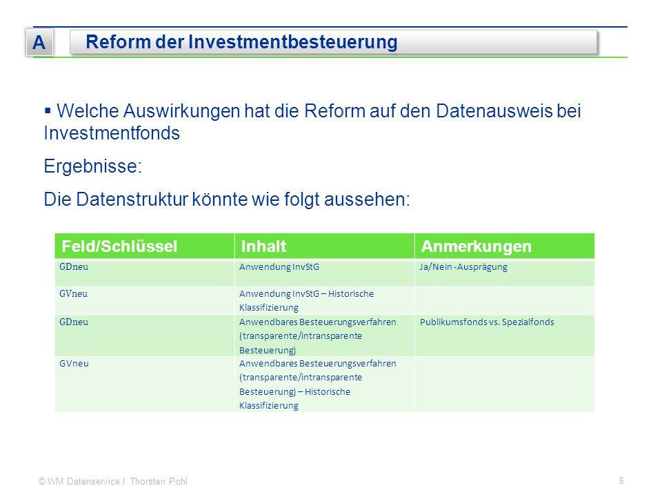 © WM Datenservice I Thorsten Pohl 6 A Reform der Investmentbesteuerung  Welche Auswirkungen hat die Reform auf den Datenausweis bei Investmentfonds E
