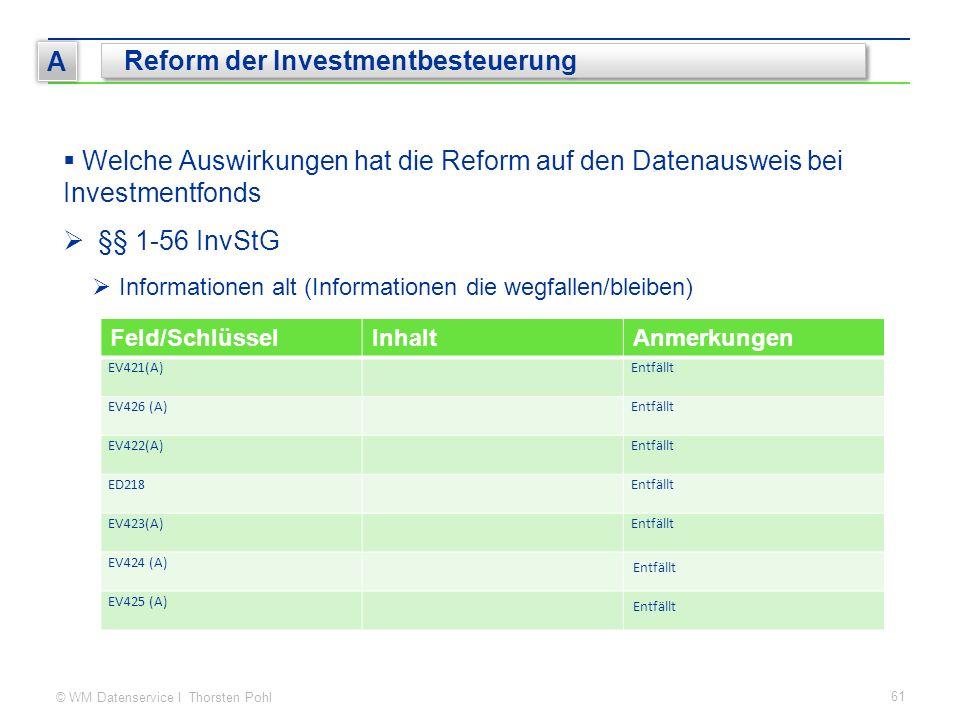 © WM Datenservice I Thorsten Pohl 61 A Reform der Investmentbesteuerung  Welche Auswirkungen hat die Reform auf den Datenausweis bei Investmentfonds  §§ 1-56 InvStG  Informationen alt (Informationen die wegfallen/bleiben) Feld/SchlüsselInhaltAnmerkungen EV421(A)Entfällt EV426 (A)Entfällt EV422(A)Entfällt ED218Entfällt EV423(A)Entfällt EV424 (A) Entfällt EV425 (A) Entfällt