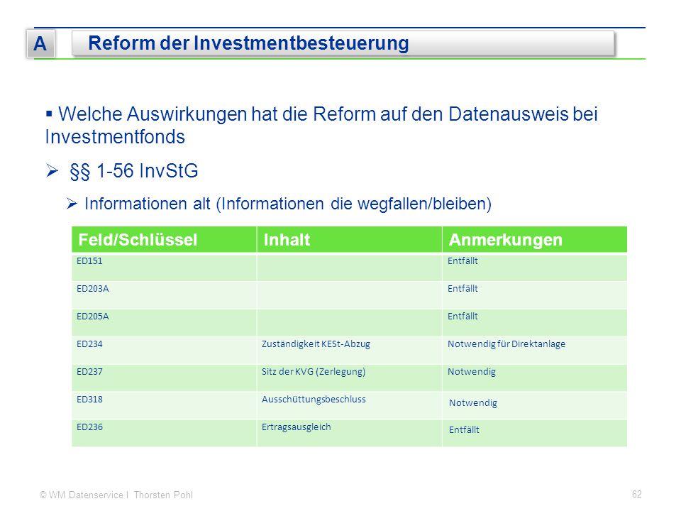 © WM Datenservice I Thorsten Pohl 62 A Reform der Investmentbesteuerung  Welche Auswirkungen hat die Reform auf den Datenausweis bei Investmentfonds  §§ 1-56 InvStG  Informationen alt (Informationen die wegfallen/bleiben) Feld/SchlüsselInhaltAnmerkungen ED151Entfällt ED203AEntfällt ED205AEntfällt ED234Zuständigkeit KESt-AbzugNotwendig für Direktanlage ED237Sitz der KVG (Zerlegung)Notwendig ED318Ausschüttungsbeschluss Notwendig ED236Ertragsausgleich Entfällt