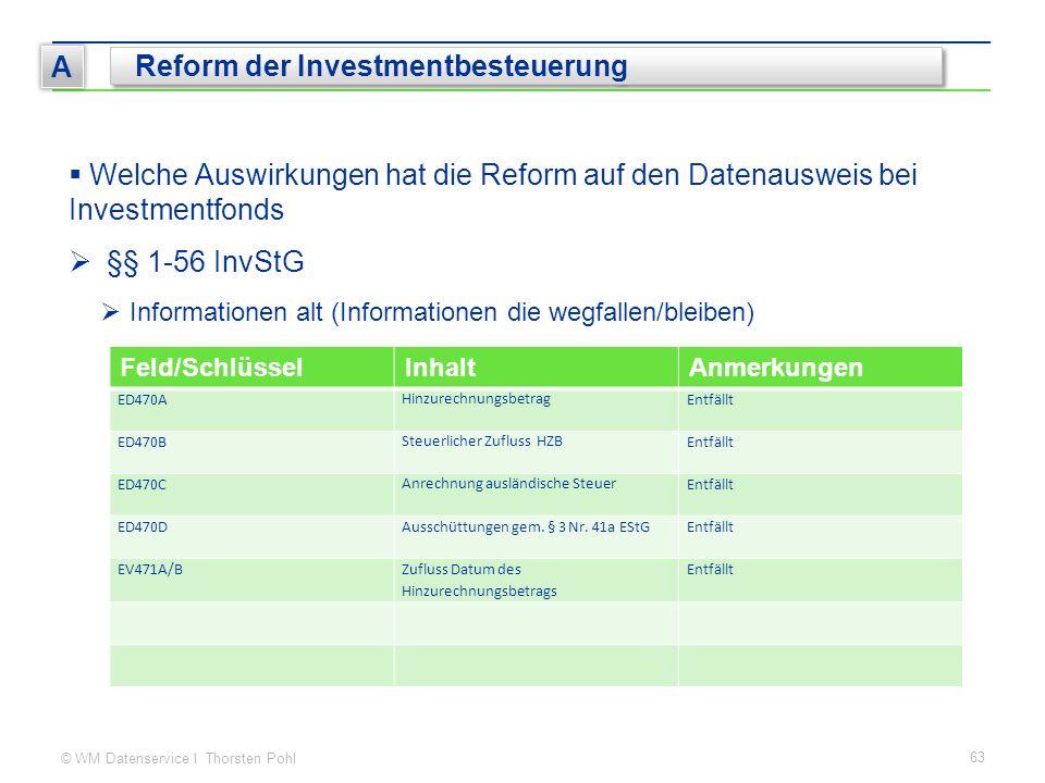 © WM Datenservice I Thorsten Pohl 63 A Reform der Investmentbesteuerung  Welche Auswirkungen hat die Reform auf den Datenausweis bei Investmentfonds  §§ 1-56 InvStG  Informationen alt (Informationen die wegfallen/bleiben) Feld/SchlüsselInhaltAnmerkungen ED470A Hinzurechnungsbetrag Entfällt ED470B Steuerlicher Zufluss HZB Entfällt ED470C Anrechnung ausländische Steuer Entfällt ED470DAusschüttungen gem.