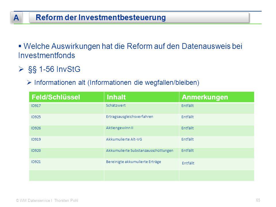 © WM Datenservice I Thorsten Pohl 65 A Reform der Investmentbesteuerung  Welche Auswirkungen hat die Reform auf den Datenausweis bei Investmentfonds