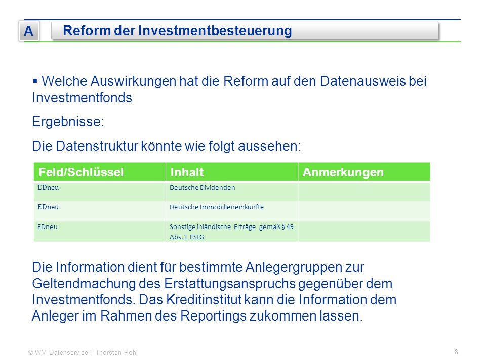 © WM Datenservice I Thorsten Pohl 8 A Reform der Investmentbesteuerung  Welche Auswirkungen hat die Reform auf den Datenausweis bei Investmentfonds E
