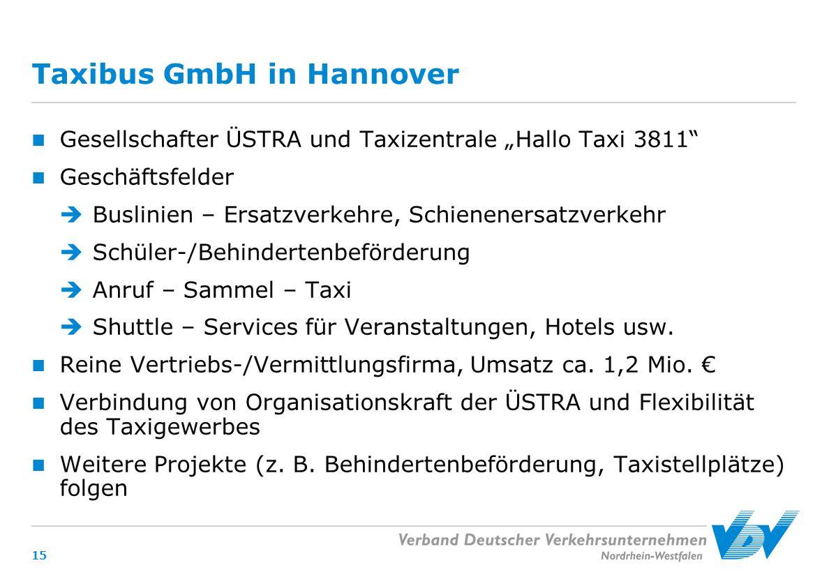 """Taxibus GmbH in Hannover Gesellschafter ÜSTRA und Taxizentrale """"Hallo Taxi 3811 Geschäftsfelder  Buslinien – Ersatzverkehre, Schienenersatzverkehr  Schüler-/Behindertenbeförderung  Anruf – Sammel – Taxi  Shuttle – Services für Veranstaltungen, Hotels usw."""