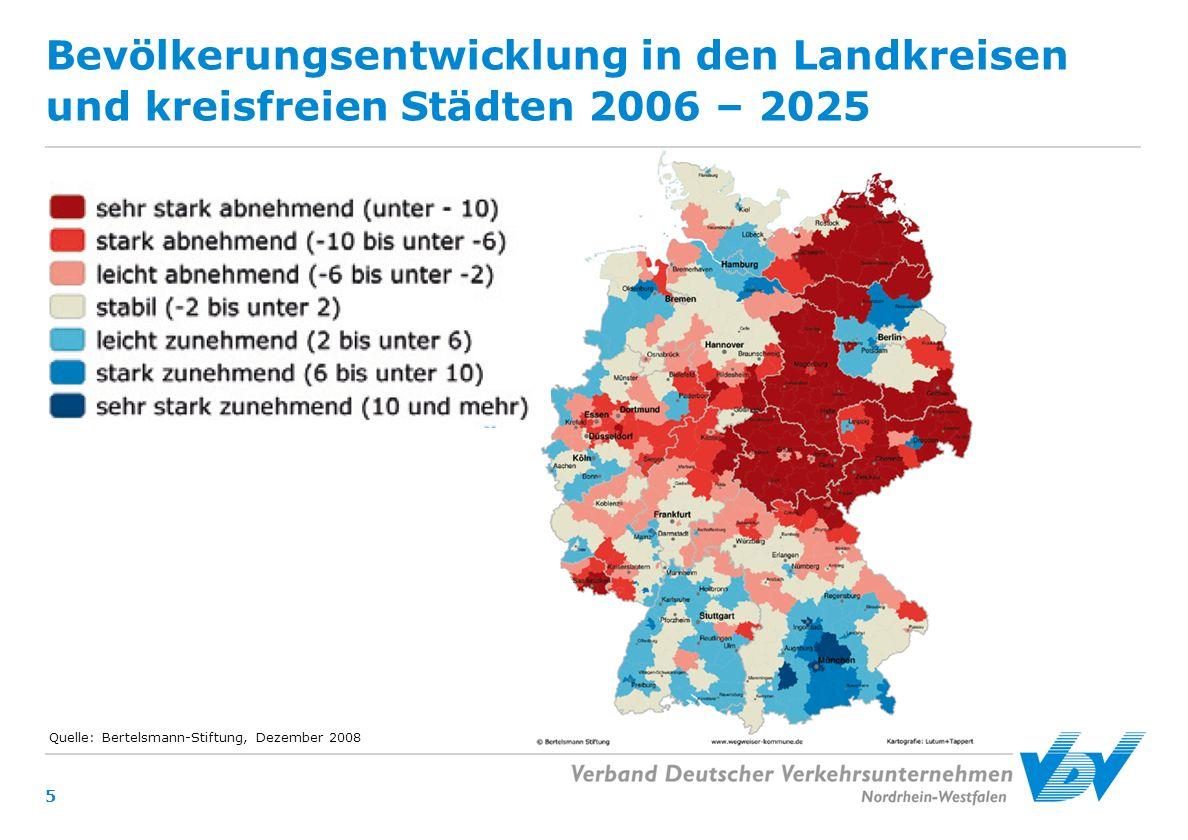 5 Bevölkerungsentwicklung in den Landkreisen und kreisfreien Städten 2006 – 2025 Quelle: Bertelsmann-Stiftung, Dezember 2008