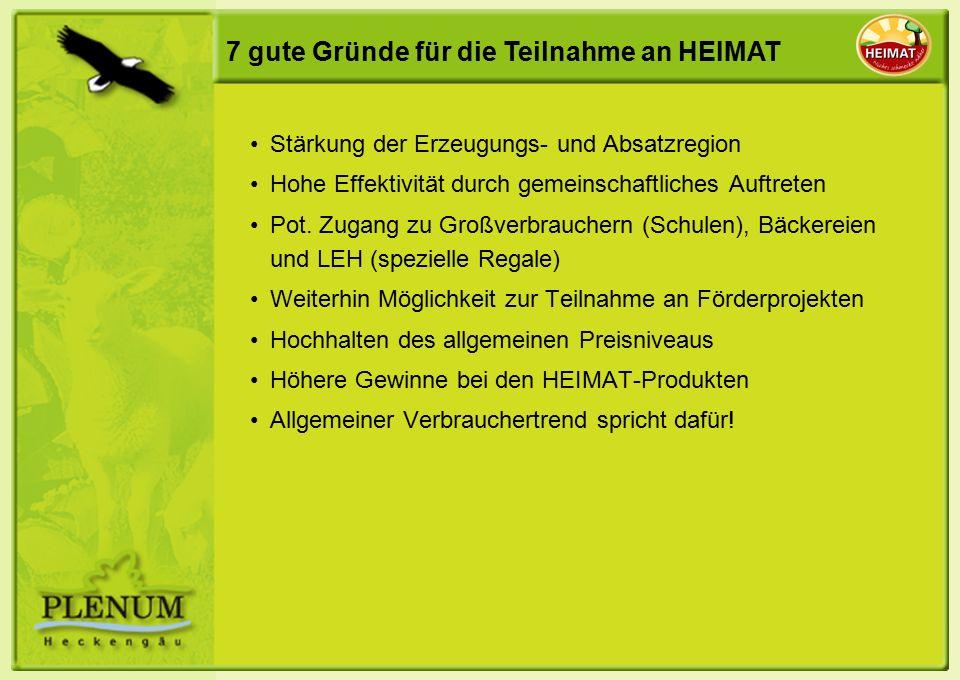 7 gute Gründe für die Teilnahme an HEIMAT Stärkung der Erzeugungs- und Absatzregion Hohe Effektivität durch gemeinschaftliches Auftreten Pot.