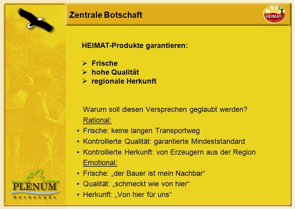 Zentrale Botschaft HEIMAT-Produkte garantieren:  Frische  hohe Qualität  regionale Herkunft Warum soll diesen Versprechen geglaubt werden.