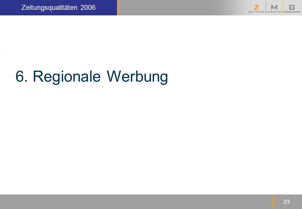 Kopfzeile Zeitungsqualitäten 2006 23 6. Regionale Werbung