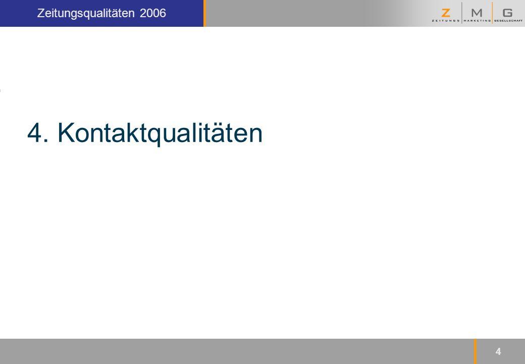 Kopfzeile Zeitungsqualitäten 2006 4 4. Kontaktqualitäten