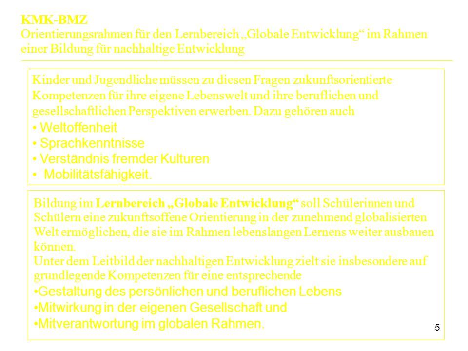 """6 Anschluss- und Umsetzungsmöglichkeiten einzelner Fächer und Bildungsbereiche Grundschule Politische Bildung Biologie/ Naturwissenschaften Geographie Religion / Ethik Wirtschaft Berufliche Bildung  Aufgabenbeispiel  fachbezogenene Teilkompetenzen  Beispielthemen KMK-BMZ Orientierungsrahmen für den Lernbereich """"Globale Entwicklung im Rahmen einer Bildung für nachhaltige Entwicklung"""
