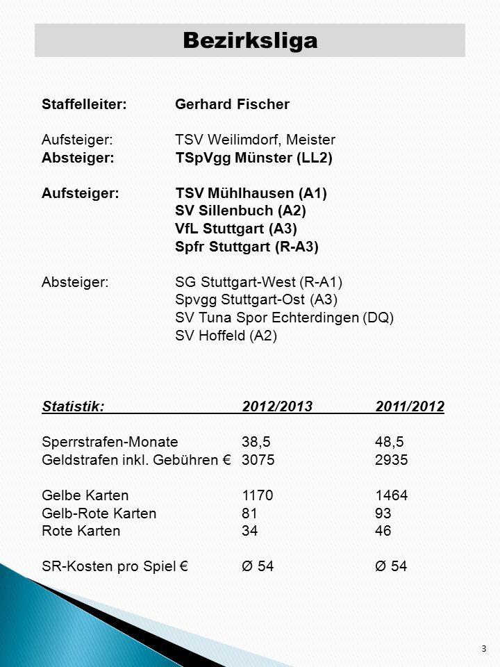 Kreisliga A – Staffel 1 4 Staffelleiter: Wilfried Bittner Aufsteiger:TSV Mühlhausen, Meister Absteiger:SG Stuttgart-West Aufsteiger:SV Prag Stuttgart Hilalspor Stuttgart Absteiger:FC Stuttgart-Cannstatt Statistik:2012/20132011/2012 Sperrstrafen/Monate2813 Geldstrafen inkl.