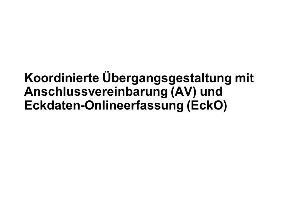 30.05.2016 1 Koordinierte Übergangsgestaltung mit Anschlussvereinbarung (AV) und Eckdaten-Onlineerfassung (EckO)