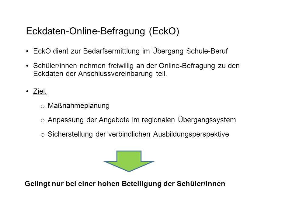 Eckdaten-Online-Befragung (EckO) EckO dient zur Bedarfsermittlung im Übergang Schule-Beruf Schüler/innen nehmen freiwillig an der Online-Befragung zu den Eckdaten der Anschlussvereinbarung teil.