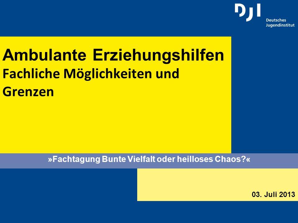 2 Ambulante Erziehungshilfen Fachliche Möglichkeiten und Grenzen Gliederung Erfolgsgeschichte Neue Legitimationszwänge Entgrenzungen Ambulante Erziehungshilfen Seckinger