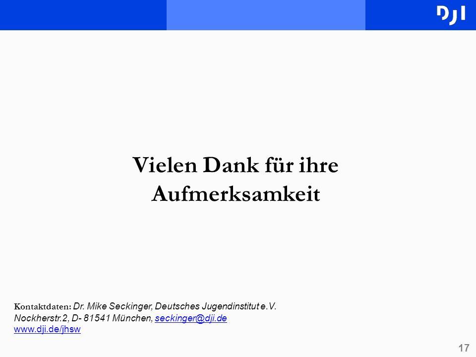 17 Vielen Dank für ihre Aufmerksamkeit Kontaktdaten: Dr. Mike Seckinger, Deutsches Jugendinstitut e.V. Nockherstr.2, D- 81541 München, seckinger@dji.d