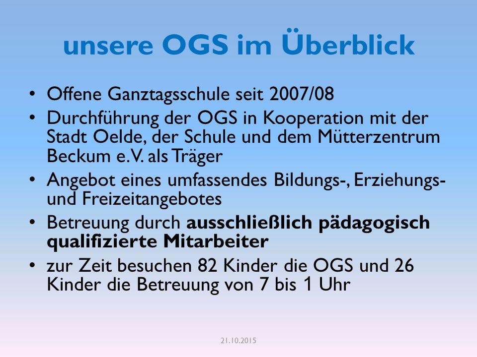 unsere OGS im Überblick Offene Ganztagsschule seit 2007/08 Durchführung der OGS in Kooperation mit der Stadt Oelde, der Schule und dem Mütterzentrum Beckum e.V.