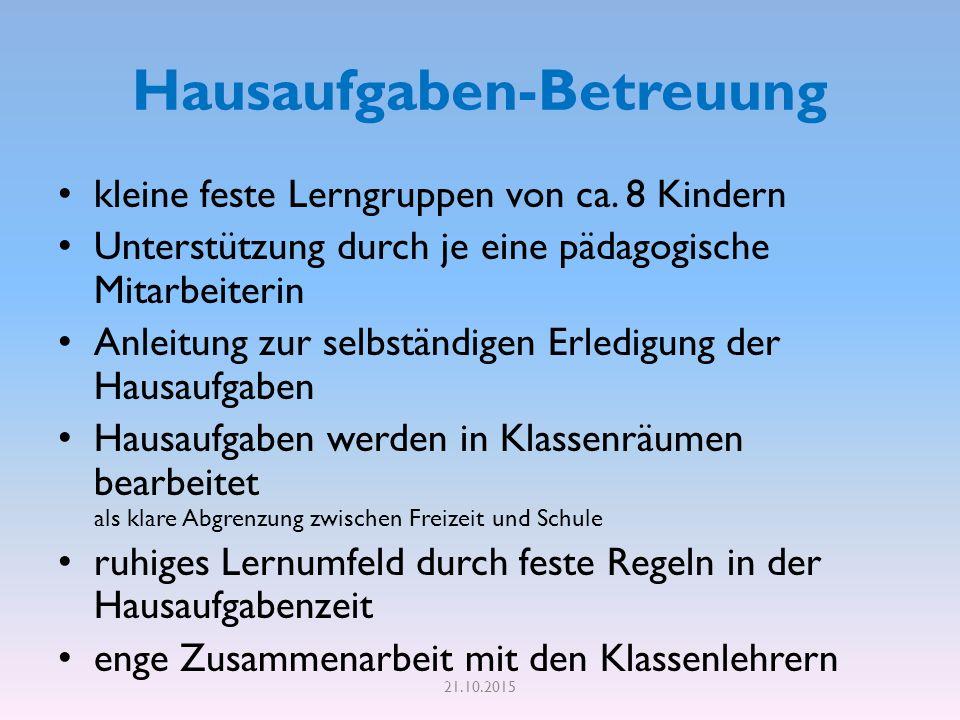 Hausaufgaben-Betreuung kleine feste Lerngruppen von ca.