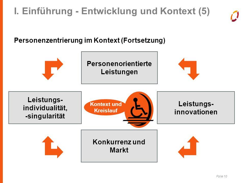 Folie 10 I. Einführung - Entwicklung und Kontext (5) Personenzentrierung im Kontext (Fortsetzung) Ambulantisierung Personenorientierte Leistungen Leis