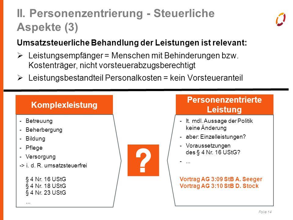 Folie 14 II. Personenzentrierung - Steuerliche Aspekte (3) Umsatzsteuerliche Behandlung der Leistungen ist relevant:  Leistungsempfänger = Menschen m