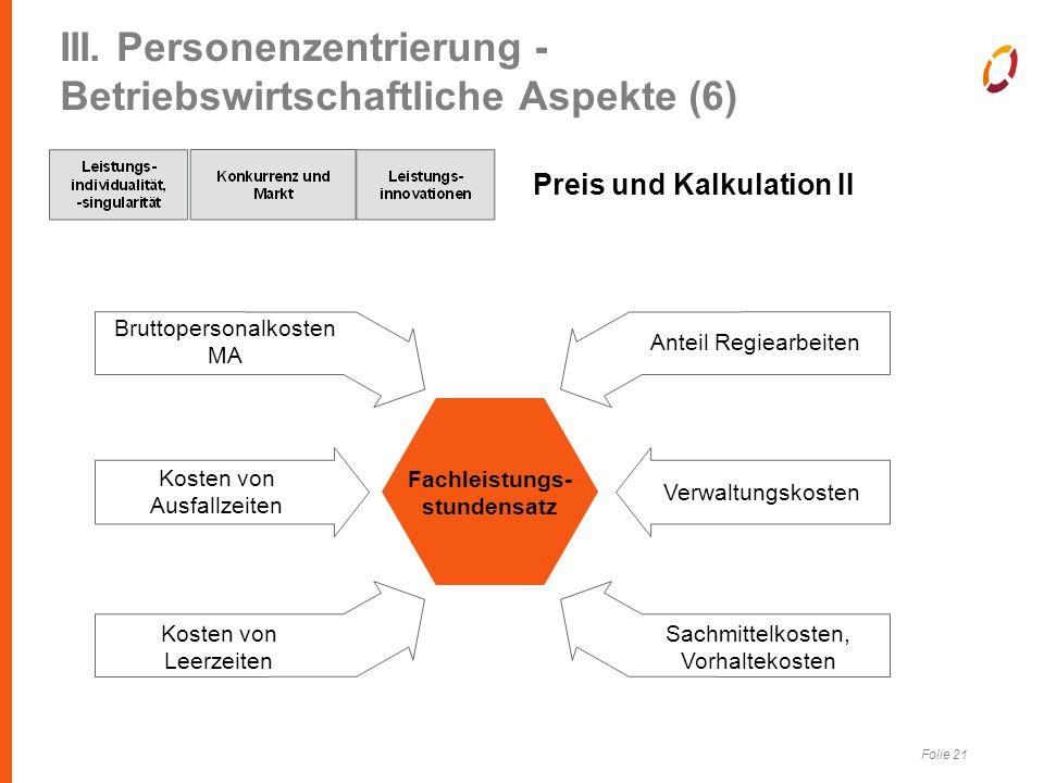 Folie 21 III. Personenzentrierung - Betriebswirtschaftliche Aspekte (6) Preis und Kalkulation II Fachleistungs- stundensatz Bruttopersonalkosten MA Ko