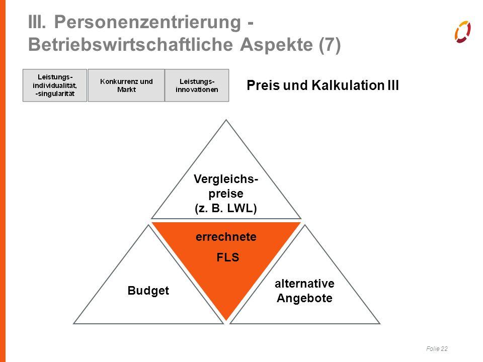 Folie 22 III. Personenzentrierung - Betriebswirtschaftliche Aspekte (7) Preis und Kalkulation III errechnete FLS Vergleichs- preise (z. B. LWL) Budget