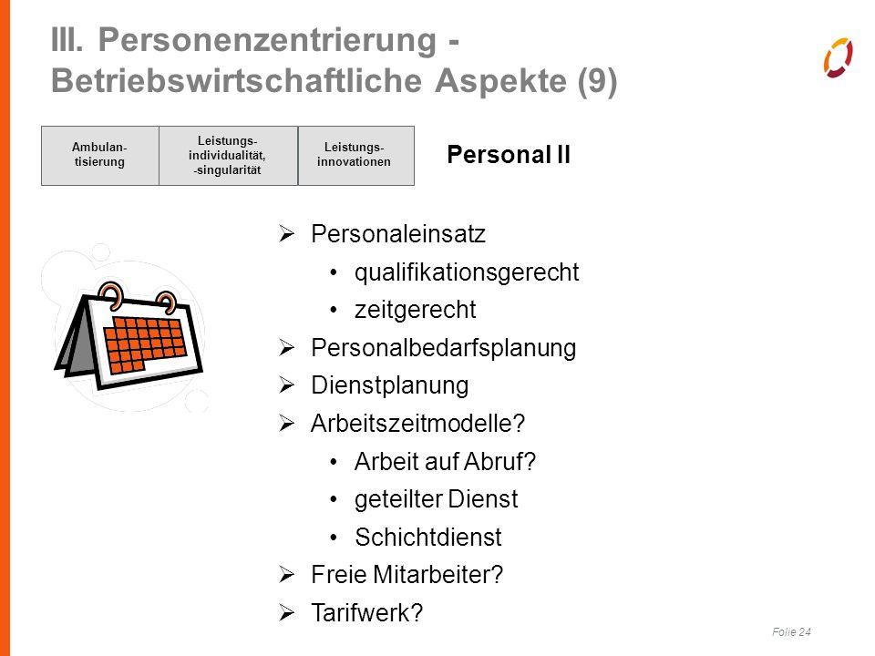 Folie 24 III. Personenzentrierung - Betriebswirtschaftliche Aspekte (9) Personal II  Personaleinsatz qualifikationsgerecht zeitgerecht  Personalbeda
