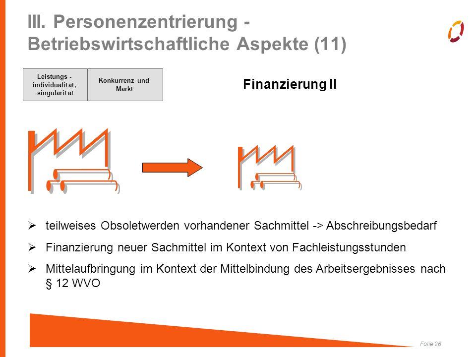 Folie 26 III. Personenzentrierung - Betriebswirtschaftliche Aspekte (11) Finanzierung II  teilweises Obsoletwerden vorhandener Sachmittel -> Abschrei