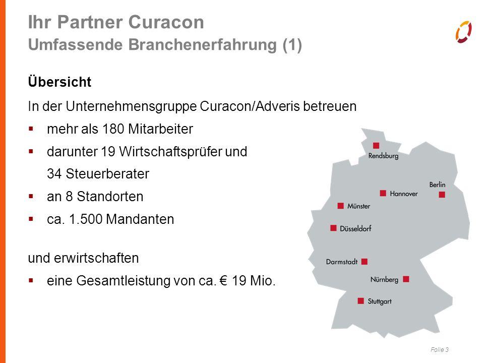 Folie 3 Ihr Partner Curacon Umfassende Branchenerfahrung (1) Übersicht In der Unternehmensgruppe Curacon/Adveris betreuen  mehr als 180 Mitarbeiter  darunter 19 Wirtschaftsprüfer und 34 Steuerberater  an 8 Standorten  ca.